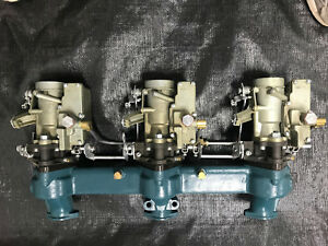 1953 1954 Corvette Intake Manifold And Carter Yh Carbs Blue Flame Plus