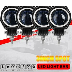 4x 3inch 35w Led Work Light Bar Round Spot Driving Fog Light Drl Offroad Suv 4wd