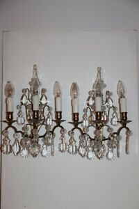 A Pair Antique French Crystal Prisms Pendants Gilded Bronze 3 Light Wall Sconces