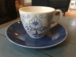 Vintage Tea Cup Saucer Blue And White Floral