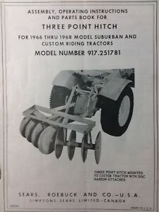 Sears Suburban Three point Hitch 917 251781 Garden Tractor Owner Parts Manual