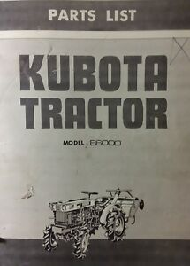 Kubota B6000 Diesel 4x4 2wd Farm Tractor Rotary Tiller Parts Manual 104pg