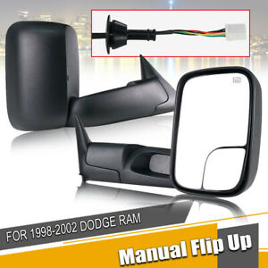 Pair Towing Mirrors Fit 1998 2001 Dodge Ram 1500 98 2002 2500 3500 Power Heated