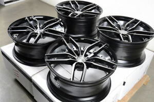 19 5x114 3 Staggered Black Wheels Fits Mustang 370z G37 350z Is350 5 Lug Rims