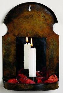 Reproduction Primitive Vintage Colonial Rust Metal Candle Sconce W Mirror 10 5