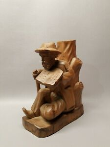 Vintage Hand Carved Solid Wood Resting Man Reading Hiking 10 Statue