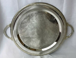 Antique Vtg Victorian Art Deco Serving Tray Round Handles Vanity Butler Platter