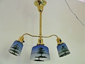 Antique Chandelier Reverse Painted Blue Frosted Shades With Trees