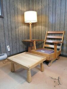 Clearance Mid Century Vintage Ranch Oak Slate Pole Lamp Table Cabin Furniture