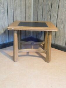 Clearance Mid Century Vintage Ranch Oak Slate Accent End Table Cabin Furniture