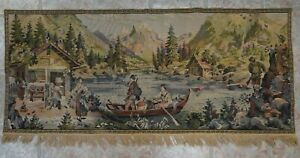 Large Antique Victorian Needlepoint Handmade Wall Hanging Scenic Tapestry