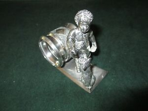 Antique Silver Plated Figural Napkin Ring Victorian C 1900 Kate Greenway Meriden