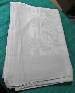 Antique Large Linen Damask Tablecloth Large Florals Ribbons Hand Hemmed