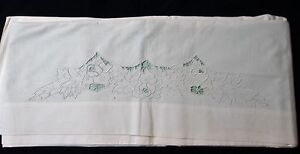 Antique Sheet Florals In Embroidery Cutwork Unused Excellent Condition