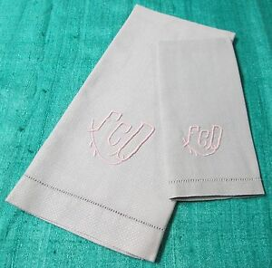 Antique Gray Nubby Linen Hand Finger Tip Towel Set F C D Monogram Hemstitched