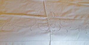 Antique Italian Sheet Ornate Floral Cutwork With Drawnwork Accents Beautiful