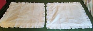 Antique Tambour Embroidery Lay Over Pillow Sham Pair V Monograms Trousseau