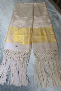 Antique Pair Linen Damask Fringed Show Towels Yellow Bands Daisies Never Used