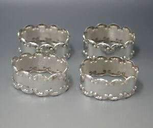 Vintage Mexico Sterling Silver Set Of 4 Napkin Rings Marked 70 Gram