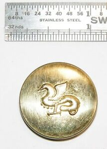Antique Vintage Brass Picture Button France Sporting Hunt Livery Dragon Griffin