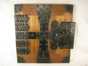 Antique Japanese Meiji Era C 1870 Forged Iron Tansu Chest Door W Key