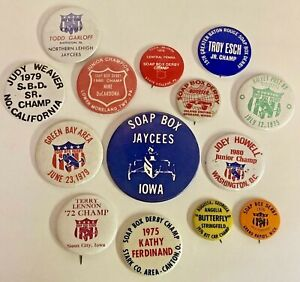 Huge Lot Of Vintage 1970 s Soap Box Derby Pinback Buttons Iowa Ohio Michigan