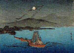 Japanese Woodblock By Hiroshige Ando C 1920 Chirimen Creped Paper