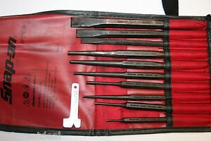 Snap On Tools 11pc Punch And Chisel Set Accessories In Red Kit Bag