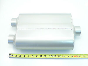 Per 422 Dual 2 Two Chamber Race Muffler 2 25 Center Inlet 2 25 Dual Outlets