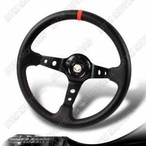 Jdm 350mm Black Pvc Leather 6 Hole Racing Steering Wheel Red Stitches For Honda