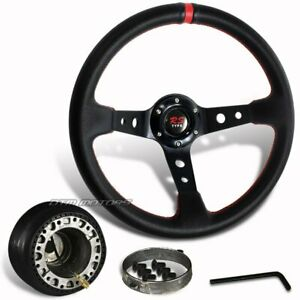 Jdm 350mm Black Pvc Leather Red Ring Racing Steering Wheel hub For Toyota Scion