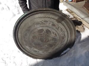 Antique Middle Eastern Islamic Persian Copper Tray 38 5