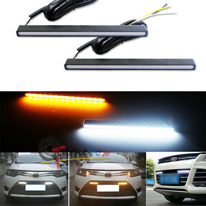 2 Ultra Slim Switchback White Amber Led Drl Daytime Running Lights Fog Lamps Kit