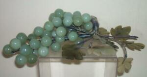 Chinese Vintage Jade Green Hardstone Bunch Of Grapes With Leaves