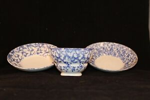 Antique American Spongeware Spatterware Cup And Two Saucers 19th Century