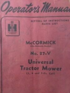 Mccormick International 27 v 3 point Sickle Mower Owner Service Parts Manual
