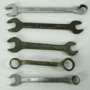 Vintage Usa Mixed Lot 5 Open Box Combination Wrench Sae S K Wayne Barcalo