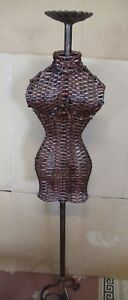 Vintage Bamboo Metal Female Mannequin Form Body Torso Display