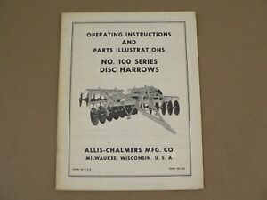 Allis Chalmers 100 Series Disc Harrows Owners Manual Service Parts List Vintage
