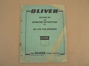 Oliver Tractors No 470 Pto Spreader Owners Manual Setting Up Instructions 1959
