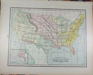 Vintage 1900 United States Territorial Growth Map 14 X11 Old Antique Usa Mapz