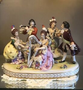 Volkstedt Porcelain Lace Musical Group 3 Ladies 2 Men Figurine Harp Piano Flute