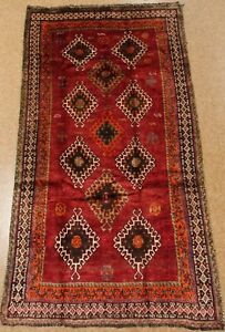 Shirazz Tribal Rug Hand Knotted Wool Red Oriental Carpet 4 4 X 8 5