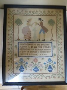 Antique Late 1920s Cross Stitch Sampler Friendship Saying