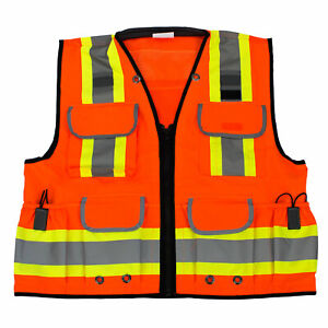 Rk Safety Two Tone Reflective Construction Traffic Emergency Safety Vest orange