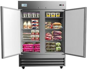 Stainless Steel 54 Two Door Commercial Reach In Refrigerator Cooler 47 Cu Ft