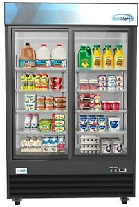 Commercial Glass 2 Door Display Refrigerator Merchandiser Beverage Cooler 53