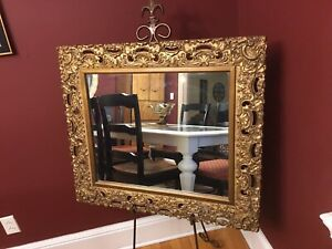 Antique Late Baroque Rococo Gesso Gilt Mirror Large 28 X 32 Local Pickup Only