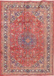 Vintage Traditional Kashmar Persian Oriental Hand Knotted 7x9 Red Wool Area Rug