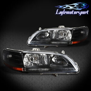 For 1998 1999 2000 2001 2002 Honda Accord Black Factory Style Headlights Pair